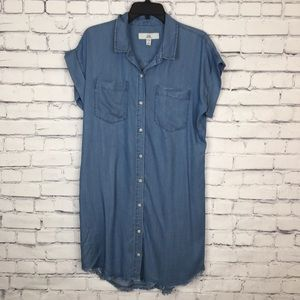 Thread + Supply Shirt Dress Button Down Raw Hem